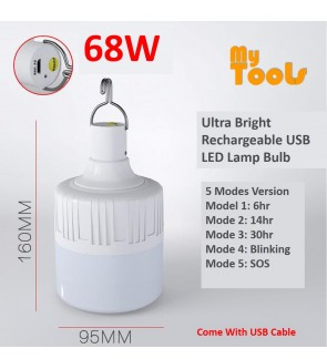 Mytools 5 Modes 68W Rechargeable USB LED Bulb Emergency Light Lamp Ultra Bright