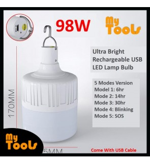 Mytools 5 Modes 98W Rechargeable USB LED Bulb Emergency Light Lamp Ultra Bright