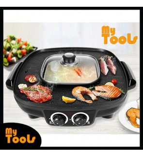 Mytools 2 in 1 Square BBQ Pan Grill & Hotpot Steamboat 2 temperature controllers