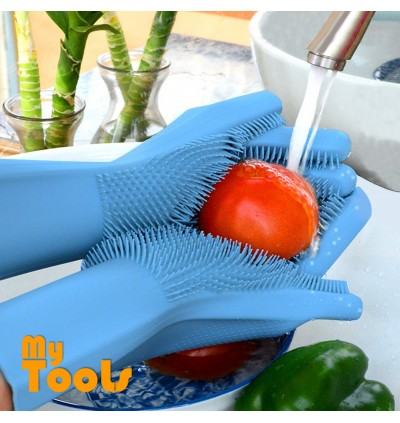 Mytools 1 Pair 2PCS Magic Silicone Scrubber Rubber Cleaning Gloves Dusting Dish Washing