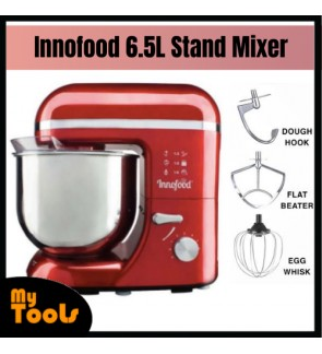 Innofood Stand Mixer 6.5 Liters 800W 2kg KT609 + Egg Whisk + Flat Beater + Dough Hook (Red Colour)