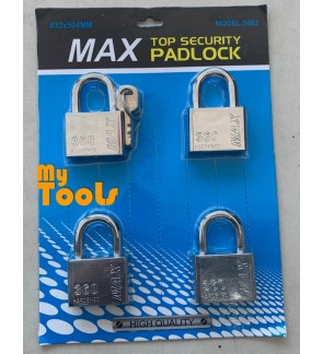 Mytools 4pcs Pad lock Key Alike 50mm Padlock Hardened