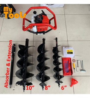 Mytools 2 In 1 Soil Earth Auger Machine 68cc Single / Double Person c/w 150, 200, 250mm Bits , Vibration Absorber , Extension Pole (Japan)