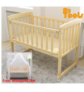 Mytools Rocking Solid Wooden Baby Cradle Cots Baby Bed With Wheels (104cm x 64cm) Free: Mosquito Net