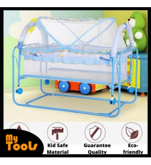 Mytools 3 In 1 Baby Swing Bed Rocking Bed Portable Baby Cot Folding Swinging With Mosquito Nets and Fabric Mattress