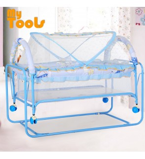 Mytools 2 In 1 Wheeled Baby Bed Portable Crib Folding Swinging shaker Mosquito Nets