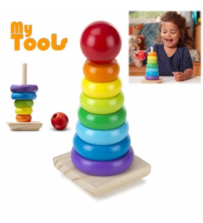 Mytools 8 Colors Wooden Rainbow Tower Stacker Educational Toy Conical Stacking Match Game