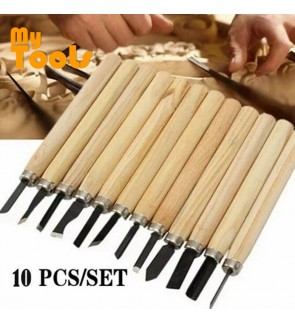 Mytools 10 pcs Wood Carving Set Chisel Wooden Handle Engraving Tool Wood Hand Craft