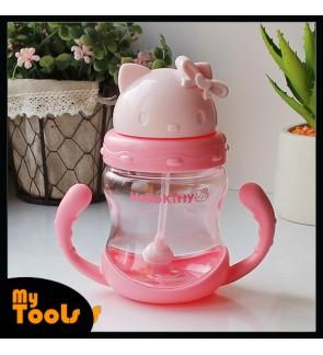 Mytools 300ml Hello Kitty Kids Straw Ball Enlighten Drinking Water Bottle