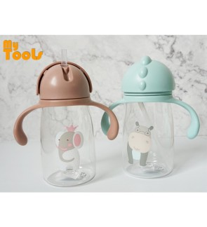 Mytools 400ML Kids Plastic Water Bottle Tumbler BPA Free Kid Drinking Bottles Portable Hiking Cute Cup Elephant Hippo