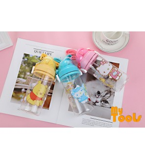 Mytools 600ML Plastic Water Bottle Tumbler with Straw Kids Drinking BPA Free Portable Cute Kids Cup Hello Kitty & Winnie