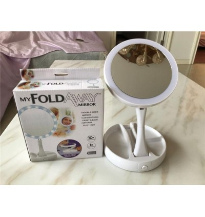 Mytools Fold Away LED Makeup Mirror Double-sided Rotation Folding USB Lighted Vanity Portable Tabletop Lamp