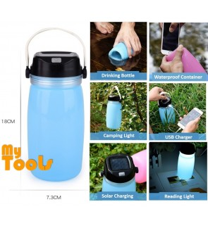 Mytools 6 In 1 750ML Foldable Drinking Bottle Solar Charger Light Waterproof Container Lantern (Come With USB cable)