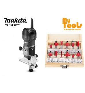 "Makita MT M3700G 530W 1/4"" (6mm) Wood Trimmer + 12PCS ROUTER BIT SET"
