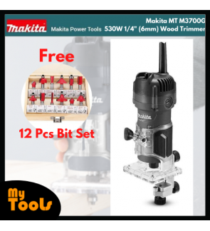 "Makita MT M3700G 530W 1/4"" (6mm) Wood Trimmer + 12PCS ROUTER BIT SET + 12 Month Makita Original Warranty"