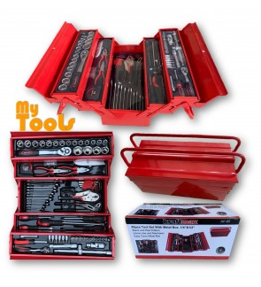 "Mytools KraftMax KF-85 85 pcs 1/4"" & 1/2"" Tool Set with Cantilever Metal Box Set-5 Tier (USA)"