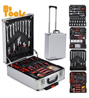 Mytools 299 pcs Aluminium Trolley Hand Tools Case Set Mechanic Tool Kit Hex Metric Ratchet Wrench Maintenance Repair Toolbox Screw Tightening Measuring Leveling Garage Car