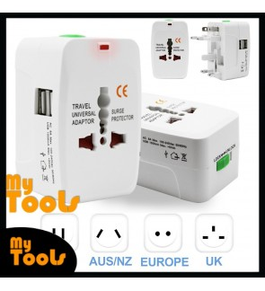 Mytools Universal Adapter Worldwide Travel Adapter With Dual USB Charger Ports (White)