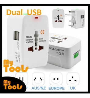 Mytools Travel Adapter AU UK US EU International Adapter Charger Dual USB Plug
