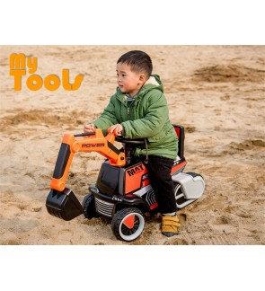 Mytools 12V Battery Operated Ride On Excavator Digger Pretend Play Construction Truck Toy Kid Children