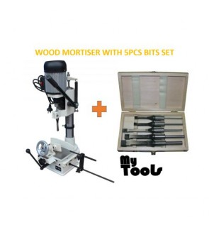 Wood Mortiser Machine / Mortising / Square Hole Maker With 5pcs Mortising Bit Set