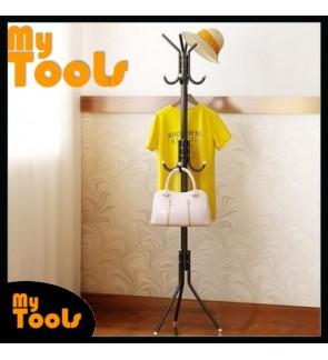 12 Hooks Hanging Pole for Hat Clothes Jacket Umbrella and Handbag- Black OR White