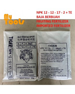 TIGER 500G Imported Flowering Fruiting Fertilizer Baja Berbunga Berbunga Import 12-12-17-2+TE