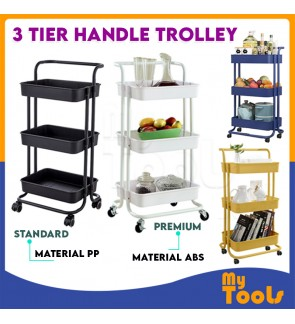 Mytools 3 Tier Trolley Home Kitchen Storage Organizer Rack Cart Office Shelves Book Shelving Toys with Handle