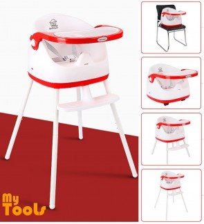 5 In 1 Baby Booster Chair Safety Dining Feeding High Low Booster Seat with Wheels