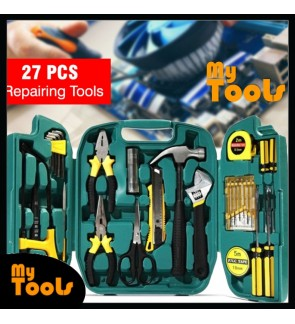 Mytools 27 pcs Tools Set Hardware 27pcs Set Box Home Living Box Repairing Tool Kits (Saw, Spanner, Screwdriver)