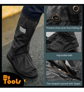 Mytools Anti-slip Waterproof Rain Boot Shoes Cover Overshoes with Elastic String for Women Men (1 Pair)