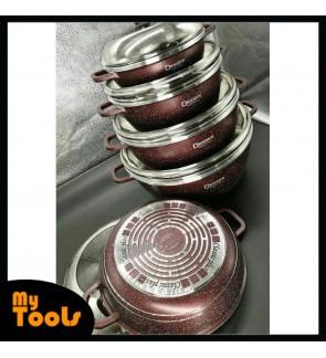 Mytools 10pcs Dessini Granite Cookware Set 10 PCS Periuk Die Casting Non Stick Pot (Semi-Glass Lid)