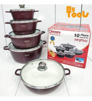 Mytools 10pcs Dessini Granite Cookware Set 10 PCS Periuk Die Casting Non Stick Pot