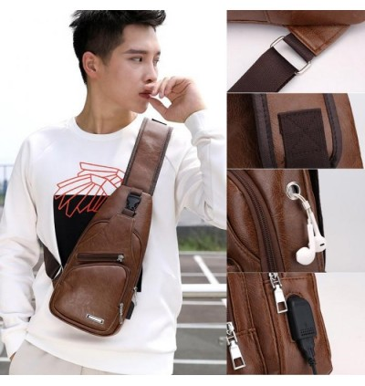 Mytools Crossbody Leather Sling Bag Stylish USB Chest Pouch Shoulder Bag Man