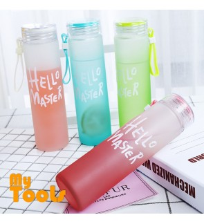 Mytools 480ml Glass Bottle Transparent Leakproof Style BPA-Free Drinking Frosted Colourful Drinkware Sports School Botol