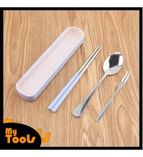 Mytools 3 Pcs Cutlery Set Stainless Steel Upscale Dinnerware Silver Fork Spoon Chopsticks