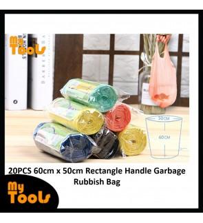 Mytools 20pcs Black Rectangle Rubbish Garbage Trash Waste Bag on Roll (50cm x 60cm)