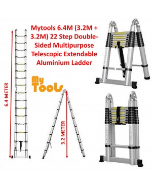 Mytools 6.4M (3.2M + 3.2M) Double-Sided Multipurpose Telescopic Extendable Aluminium Ladder