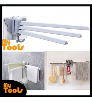 Mytools Towel Rack Hanger Cloth Wall Mounted No Trace Plastic Rack Flexibility Swivel Bar Bathroom Kitchen (Gray)