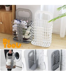 Mytools Foldable Laundry Basket Hamper with Hook for Dirty Clothes Baskets Kitchen Storage Holder Organizer 28x17x47cm