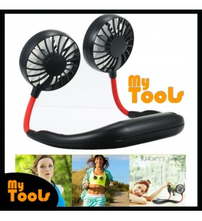 Mytools Lazy Neck Fan USB Hands-free Rechargeable Hanging Style Dual Cooling Travel Wearable Neckband Mini Air Cooler