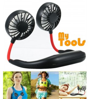 Mytools Lazy Neck Fan USB Hands-free Rechargeable Hanging Style Dual Cooling Travel Outdoor Indoor Wearable Neckband Mini Air Cooler