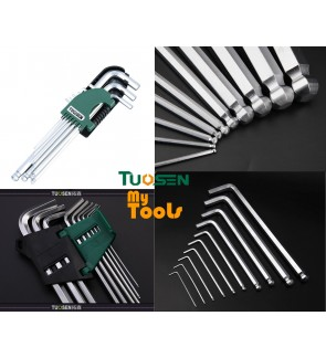 Mytools Premium TUOSEN 9pcs L Wrench Ball End Long Arm Hex Key Allen Wrench Set Powerful Repair Tool (L Size)