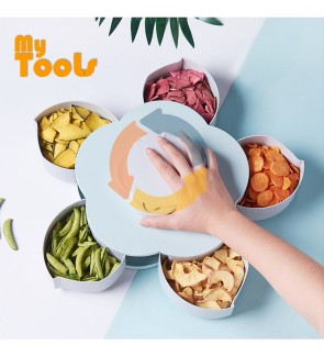 Mytools Rotating Snack Box Dried Fruit Plate Rotary Candy Dish Candy Storage Case Holder 5 Compartments Seeds Nuts