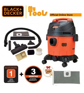 Black + Decker BDWD15-XD 1400W 15 Litre Multifunction Vacuum Cleaner With Standard Accessories + 1pcs Washable Dust Bag ( BDWD15 )