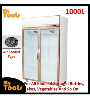 Mytools Himitzu 1000L 2 Glass Door Commercial Display Showcase Fridge Chiller Refrigerator Air Cooled (Blower Type)