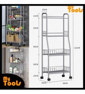 Mytools 4 Tier Kitchen Dapur Organizer Basket Steel Rack with Wheels