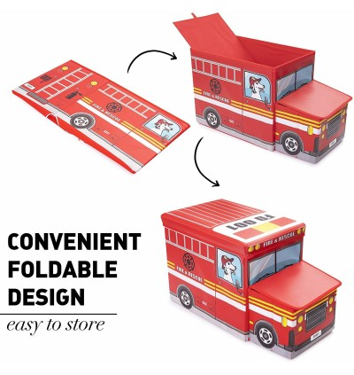 Multipurpose Foldable Vehicle Toy Storage Box  Police Car School Bus Tank Ice Cream Car Stool
