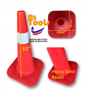 "Mytools 30"" 42mm x 42mm Traffic Road Safety Cone Sand Based With Reflective Sticker ( Made In Malaysia )"