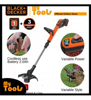 Black + Decker STC1820EPCF-B1 18V 2.0 Ah 28cm Cordless Grass Trimmer with 1 Battery 2.0Ah FOC Trimmer Line STC1820EPCF